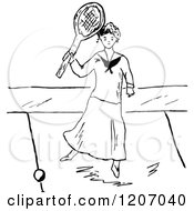 Clipart Of A Vintage Black And White Lady Playing Tennis 2 Royalty Free Vector Illustration by Prawny Vintage