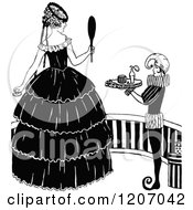 Clipart Of A Vintage Black And White Elegant Lady Holding A Mirror By A Servant Royalty Free Vector Illustration by Prawny Vintage