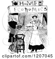 Clipart Of A Vintage Black And White Maid Serving A Woman And Home Economics Text Royalty Free Vector Illustration