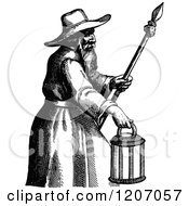 Clipart Of A Vintage Black And White Man With A Spear And Lantern Royalty Free Vector Illustration by Prawny Vintage
