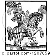 Clipart Of A Vintage Black And White Horseback Knight Royalty Free Vector Illustration