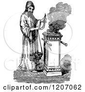 Vintage Black And White Hebrew Priest Offering Incense