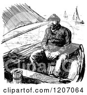 Clipart Of A Vintage Black And White Man In A Boat Royalty Free Vector Illustration