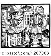 Clipart Of Vintage Black And White Elizabethan Men Talking Royalty Free Vector Illustration