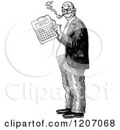 Clipart Of A Vintage Black And White Man Marking A Calendar Royalty Free Vector Illustration by Prawny Vintage