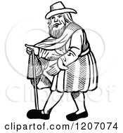 Clipart Of A Vintage Black And White Elizabethan Man Royalty Free Vector Illustration