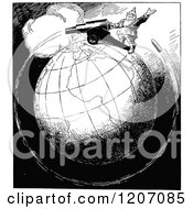 Clipart Of A Vintage Black And White World War Cannon Going Around The Globe Royalty Free Vector Illustration by Prawny Vintage