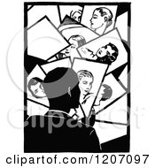 Clipart Of A Vintage Black And White Man Looking At Photos Royalty Free Vector Illustration