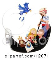 Clay Sculpture Clipart Couple Hitting A Bird With A Wine Cork While On A Gondola Ride Royalty Free 3d Illustration by Amy Vangsgard