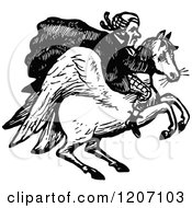 Vintage Black And White Man Riding A Winged Horse