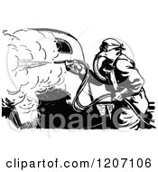 Clipart Of A Vintage Black And White Worker Spray Painting Cars Royalty Free Vector Illustration