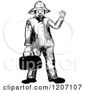 Clipart Of A Vintage Black And White Man With A Bag Royalty Free Vector Illustration