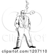 Clipart Of A Vintage Black And White Stressed Man Smoking Royalty Free Vector Illustration