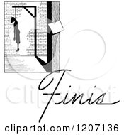 Clipart Of A Vintage Black And White Hanged Man And Finis Text Royalty Free Vector Illustration