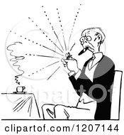 Clipart Of A Vintage Black And White Old Man Lighting A Cigar Royalty Free Vector Illustration