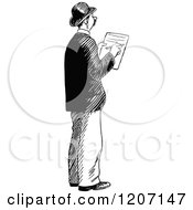 Clipart Of A Vintage Black And White Man Writing Notes Royalty Free Vector Illustration