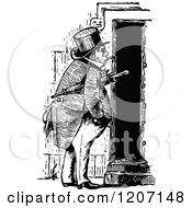 Clipart Of A Vintage Black And White Man At A Door Royalty Free Vector Illustration