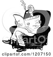 Clipart Of A Vintage Black And White Man Smoking And Reading The News Royalty Free Vector Illustration by Prawny Vintage