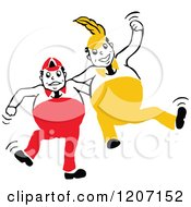 Clipart Of Yellow And Red Tweedle Dee And Tweedle Dum Royalty Free Vector Illustration