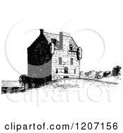 Clipart Of Vintage Black And White Lauriston Castle Royalty Free Vector Illustration by Prawny Vintage