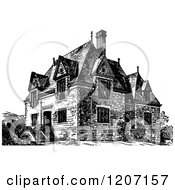 Clipart Of A Vintage Black And White House Royalty Free Vector Illustration by Prawny Vintage