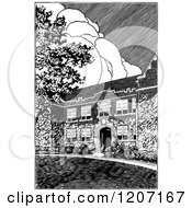 Clipart Of A Vintage Black And White Architectural Scene Royalty Free Vector Illustration