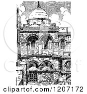 Vintage Black And White Church Of The Holy Sepulchre In Jerusalem