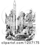 Clipart Of A Vintage Black And White Obelisk And Ruins Royalty Free Vector Illustration