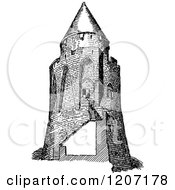 Vintage Black And White Donjon Keep Tower