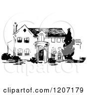 Clipart Of A Vintage Black And White Two Story House Royalty Free Vector Illustration by Prawny Vintage