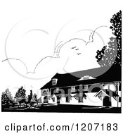 Clipart Of A Vintage Black And White Farm House Royalty Free Vector Illustration