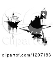 Clipart Of Vintage Black And White Silhouetted Boats Royalty Free Vector Illustration