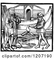 Clipart Of A Vintage Black And White Elizabethan Boat And Builders Royalty Free Vector Illustration