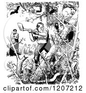 Clipart Of A Vintage Black And White Pioneer Chopping Down A Forest Royalty Free Vector Illustration by Prawny Vintage