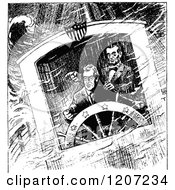Clipart Of A Vintage Black And White Scene Of Lincolns Stormy Voyage Royalty Free Vector Illustration
