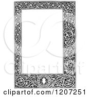 Clipart Of A Vintage Black And White Medieval Page Frame Royalty Free Vector Illustration