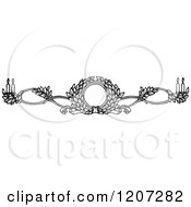 Clipart Of A Vintage Black And White Floral Wreath And Candle Rule Border Royalty Free Vector Illustration