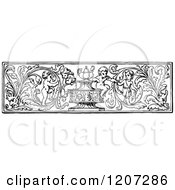 Clipart Of A Vintage Black And White Floral Cherub Rule Border Royalty Free Vector Illustration