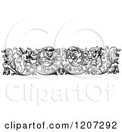 Clipart Of A Vintage Black And White Floral Cherub Border Royalty Free Vector Illustration