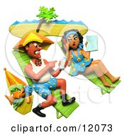 Clay Sculpture Clipart Couple Getting Sun Burnt On A Beach Royalty Free 3d Illustration