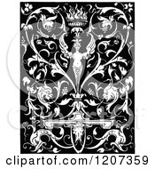 Clipart Of A Vintage Black And White Medieval Design Royalty Free Vector Illustration