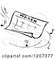 Vintage Black And White March Calendar With Music Notes