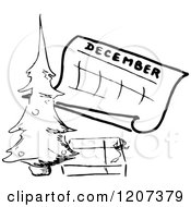 Clipart Of A Vintage Black And White December Calendar With A Christmas Tree Royalty Free Vector Illustration by Prawny Vintage