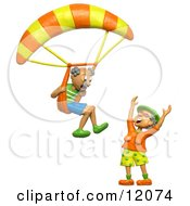 Clay Sculpture Clipart 3d Retired Man About To Land His Parachute On His Wife Royalty Free 3d Illustration