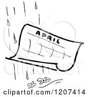 Clipart Of A Vintage Black And White April Showers Royalty Free Vector Illustration by Prawny Vintage
