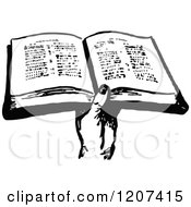 Clipart Of A Vintage Black And White Hand Holding A Bible Royalty Free Vector Illustration