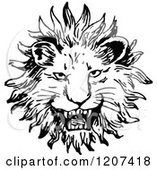 Clipart Of A Vintage Black And White Lion Face Royalty Free Vector Illustration by Prawny Vintage
