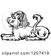 Clipart Of A Vintage Black And White Resting Lion Royalty Free Vector Illustration by Prawny Vintage