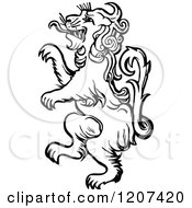 Clipart Of A Vintage Black And White Standing Lion Royalty Free Vector Illustration by Prawny Vintage