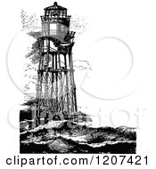 Clipart Of Vintage Black And White Minots First Lighthouse Royalty Free Vector Illustration by Prawny Vintage